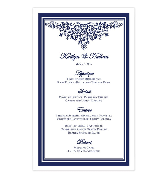 Wedding Reception Menu Template Anna Maria Navy Blue 5x8 Printable DIY