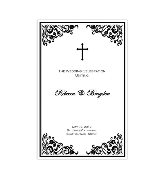 Catholic Church Wedding Program Faith Black White Printable DIY