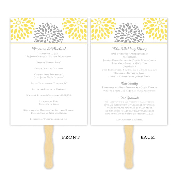 Wedding Program Fan Floral Petals Sunshine Yellow Gray Printable DIY Template