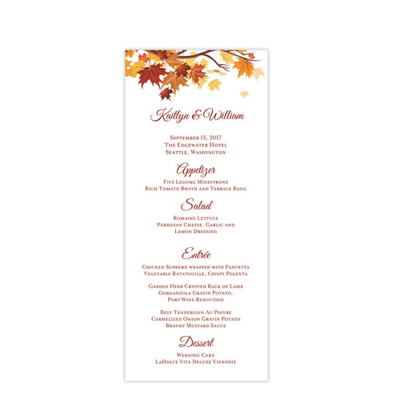 Wedding Menu Card Falling Leaves Fall Autumn Tea Length Printable DIY Templates