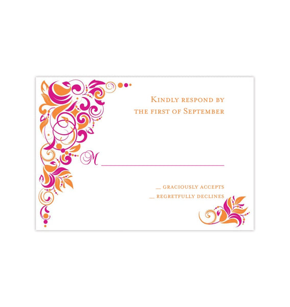 Wedding Response Cards Gianna Fuchsia Pink Orange Printable DIY Templates