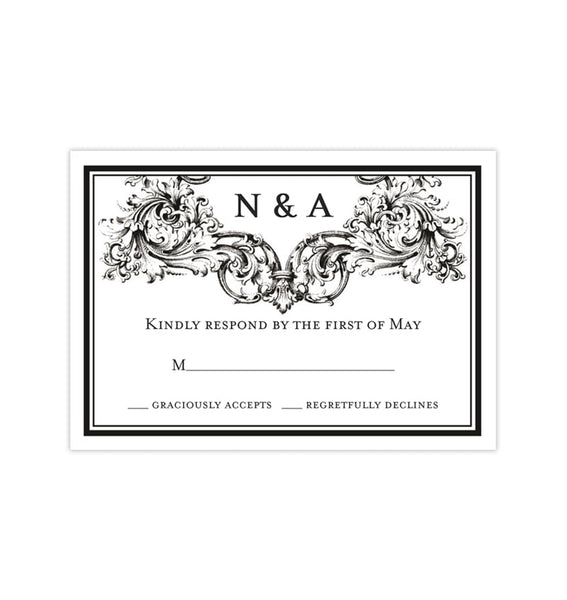 Wedding Response Cards Vienna Black White Printable DIY Templates