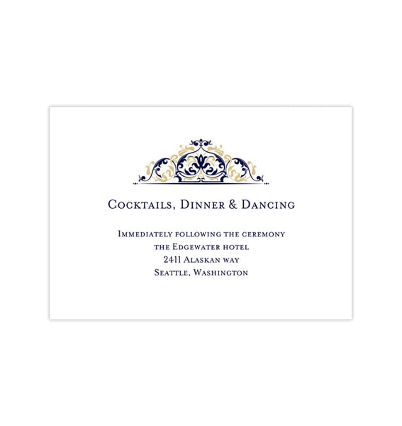 Wedding Reception Invitations Grace Navy Blue Champagne Gold Printable DIY Templates