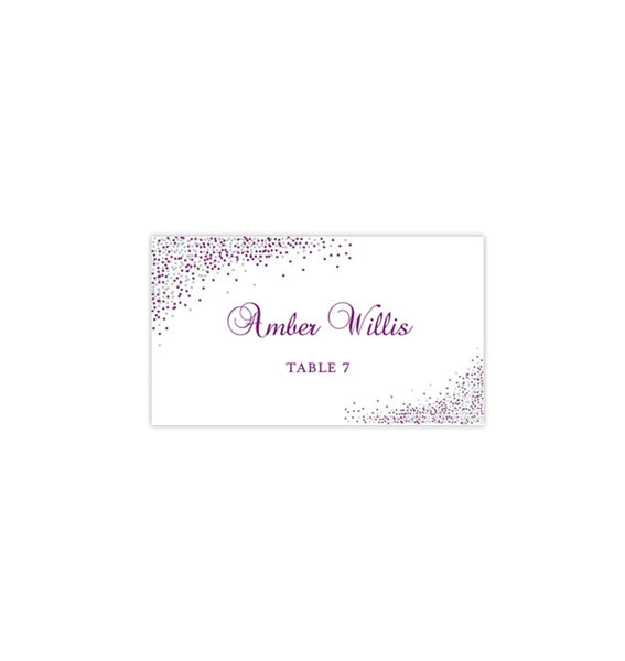 Wedding Seating Card Confetti Plum Purple Silver Tent Printable DIY Templates