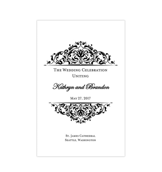 Wedding Program Template Grace Black White Printable DIY