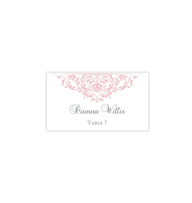graphic regarding Printable Wedding Place Cards known as Printable Marriage Space Playing cards Grace Blush Purple Flat