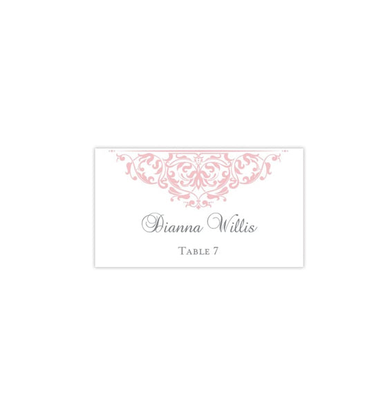 Printable Wedding Place Cards Grace Blush Pink Flat Printable DIY Place Template