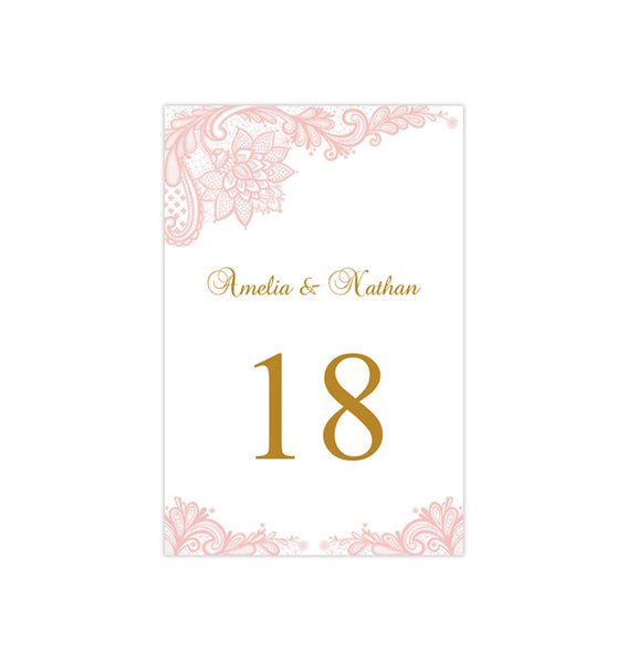 Wedding Table Number Template Vintage Lace Blush Pink Flat Printable DIY