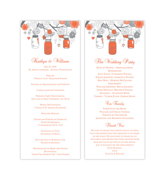 Slim Wedding Program Rustic Mason Jars Coral Gray Printable DIY