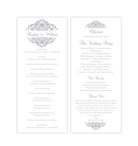 Slim Wedding Program Grace Silver Gray Printable DIY Templates