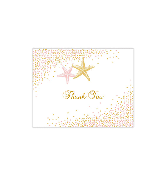 Wedding Thank You Card Confetti Starfish Blush Pink Gold Printable DIY Templates