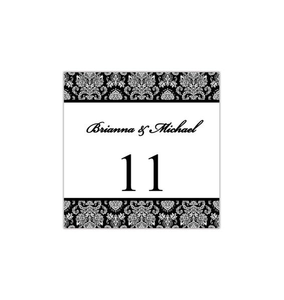 Printable Table Number Template Damask Black White Tent DIY Wedding Templates