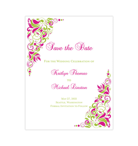 Wedding Save the Date Cards Gianna Fuchsia Pink Lime Green Printable DIY
