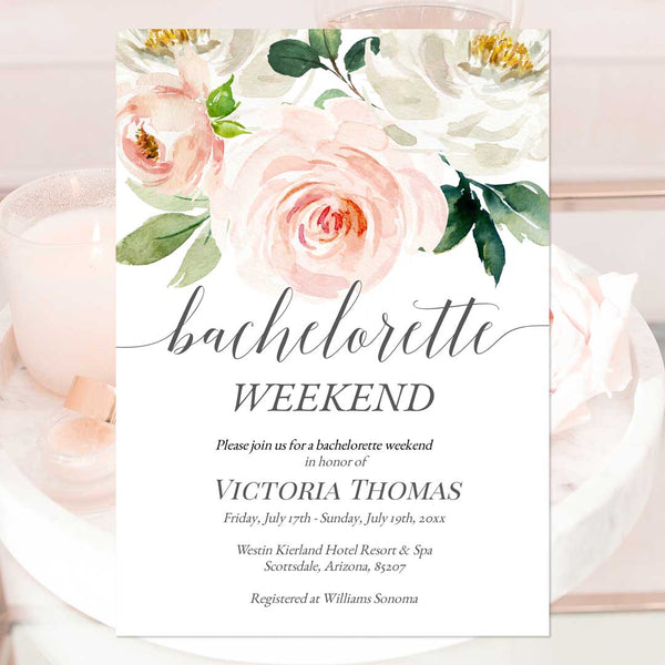 Bachelorette Weekend Invitation Template Blush Ivory Florals Edit Online