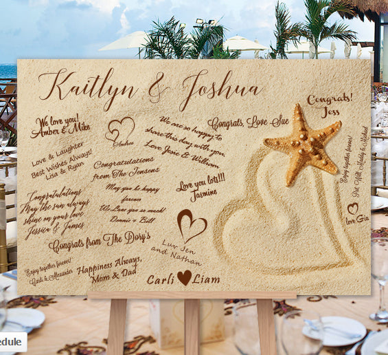 Beach Wedding Guest Book Alternative Heart In The Sand Poster or Canvas