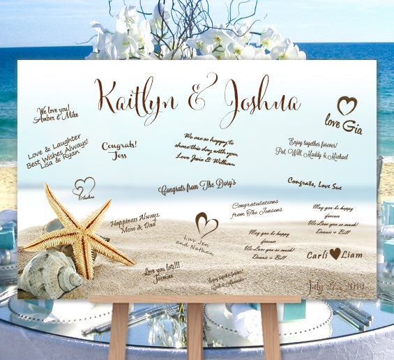 beach wedding guest book poster or canvas personalized starfish