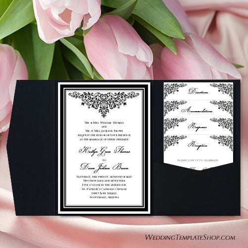 Pocket Fold Wedding Invitations Anna Maria Black White 5x7 Wedding