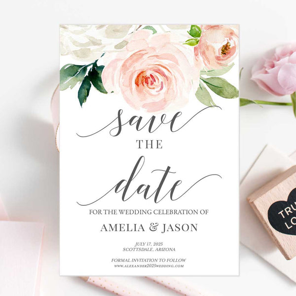 Printable Save the Date Template Blush Ivory Florals Edit Online