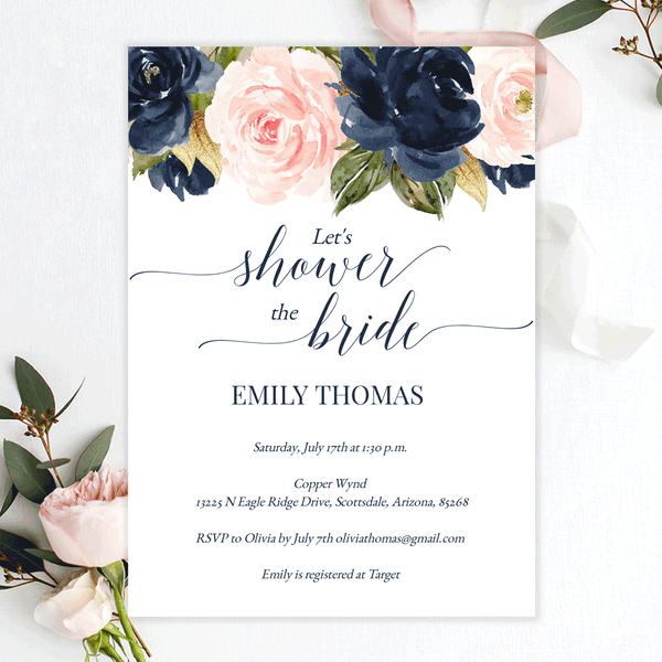 Bridal Shower Invitations Blush Navy Florals Edit Online, Print, Download