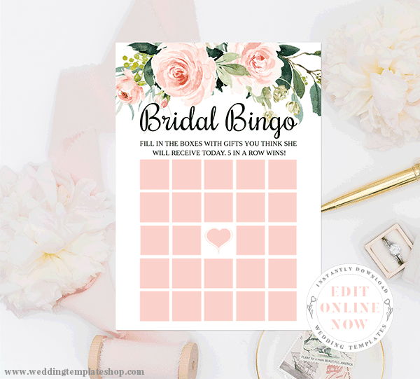 Bridal Shower Bingo Blush Florals Edit Online, Print and Download Now
