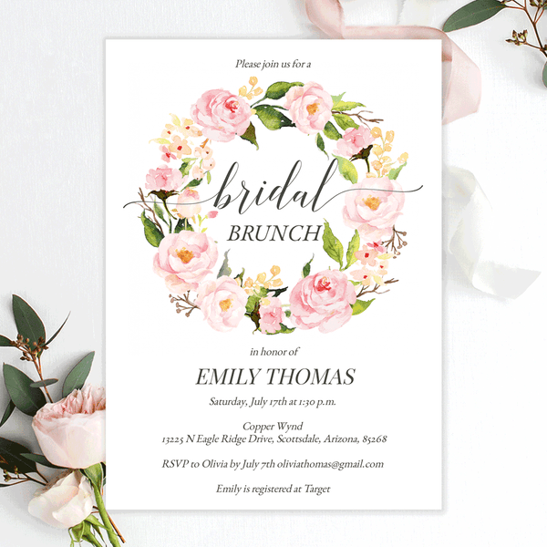 Bridal Shower Brunch Invitations Blush Pink Florals Edit Online, Print