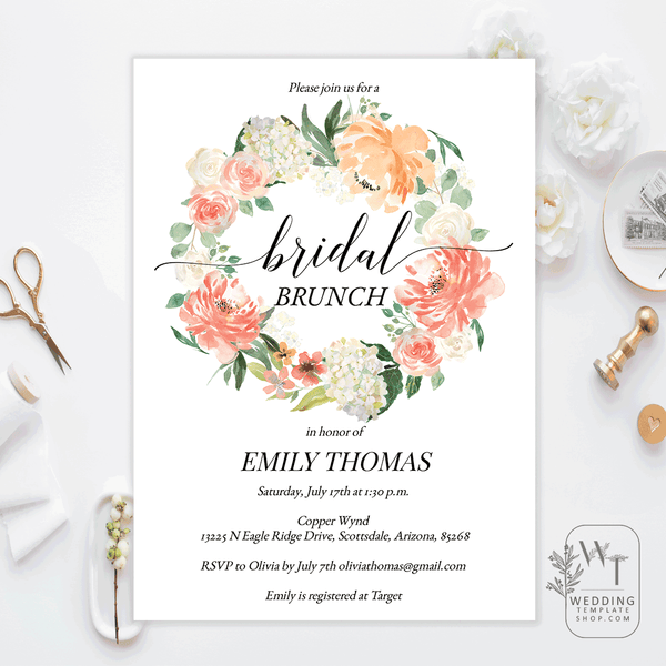 Bridal Shower Brunch Invitations Peach Blush Coral Florals Edit Online, Print