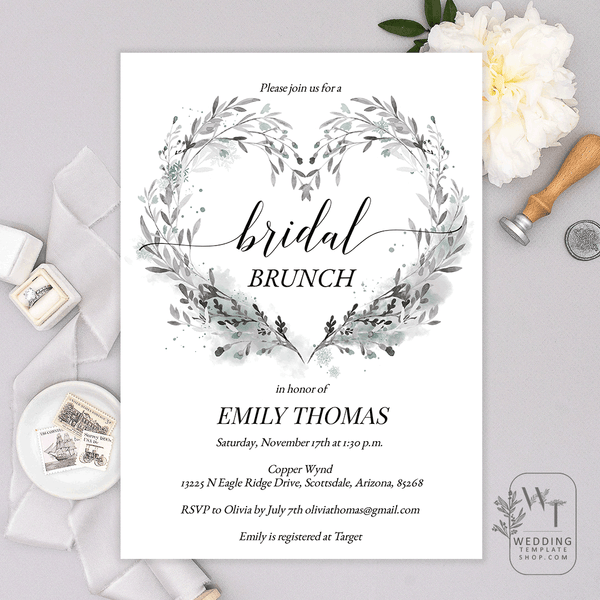 Bridal Shower Brunch Invitations Winter Heart Snowflakes Gray Teal