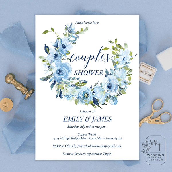 Couples Wedding Shower Invitations Blue Florals Edit Online, DIY You Print