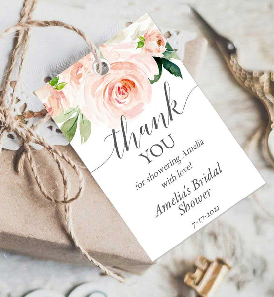 Bridal Shower Thank You or Favor Tag Edit Online Printable DIY