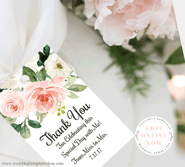 Blush Florals Favor or Thank You Tag Blush Florals Edit Online, Print