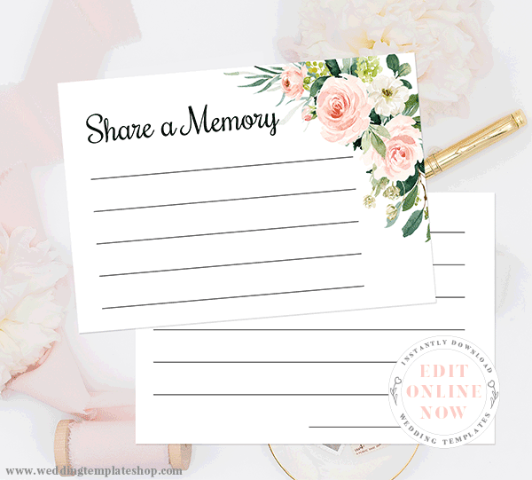Bridal Shower Game Share a Memory Blush Florals Edit Online and Print