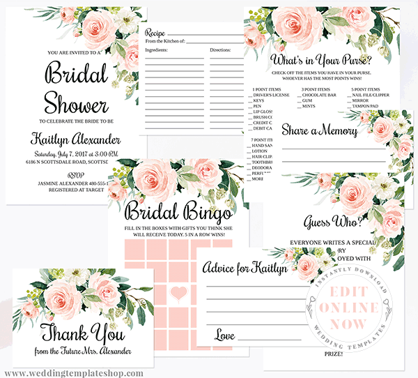 Bridal Shower Invitation Suite Blush Florals Edit Online and Print