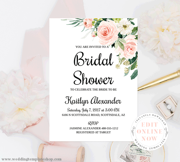 Bridal Shower Invitations Blush Florals Edit Online, Print, Download