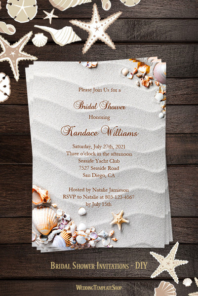 beach bridal shower invitations tropical seashells starfish wedding template shop. Black Bedroom Furniture Sets. Home Design Ideas