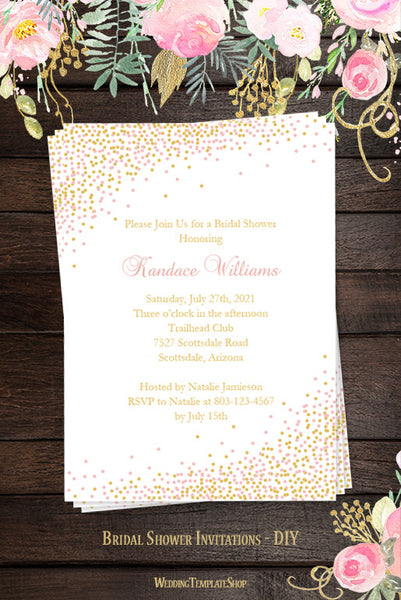 Confetti Bridal Shower Invitation Blush Pink Gold