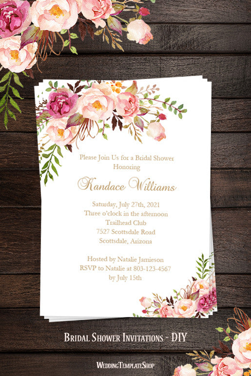 Bridal Shower Invitation Template Romantic Blossoms Printable DIY