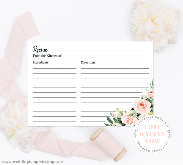 Bridal Shower Recipe Cards Blush Florals Edit Online, Download, Print