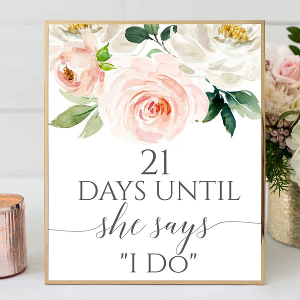 Bridal Shower Days to Wedding Sign Edit Online Printable DIY