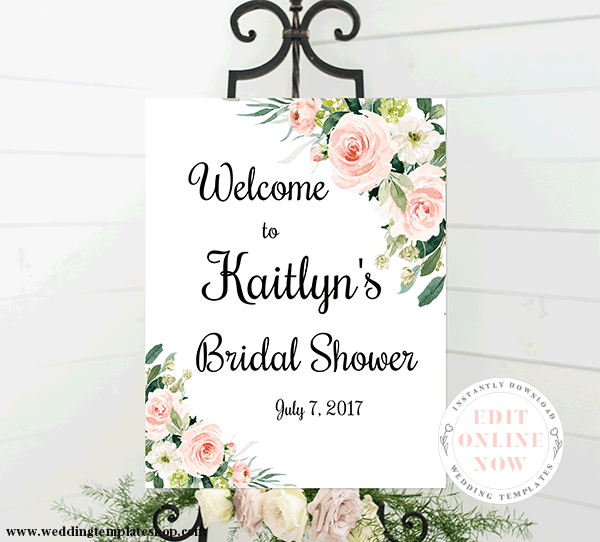 Bridal Shower Welcome Sign Blush Florals Edit Online, Download, Print