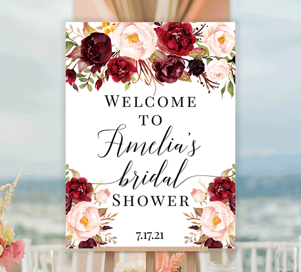 Bridal Shower Welcome Sign Burgundy Marsala Blush Edit Online You Print