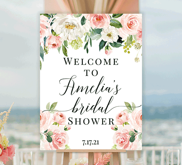 Bridal Shower Welcome Sign Blush Pink Florals Edit Online You Print