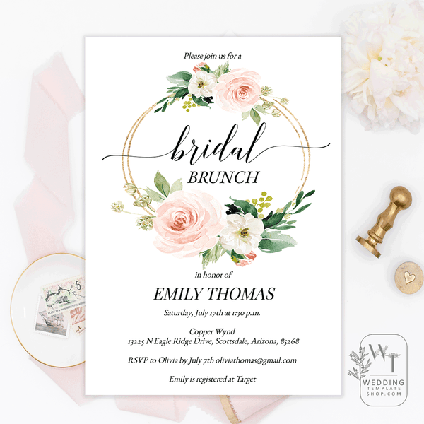 Bridal Shower Brunch Invitations Blush Wreath Florals Edit Online, Print
