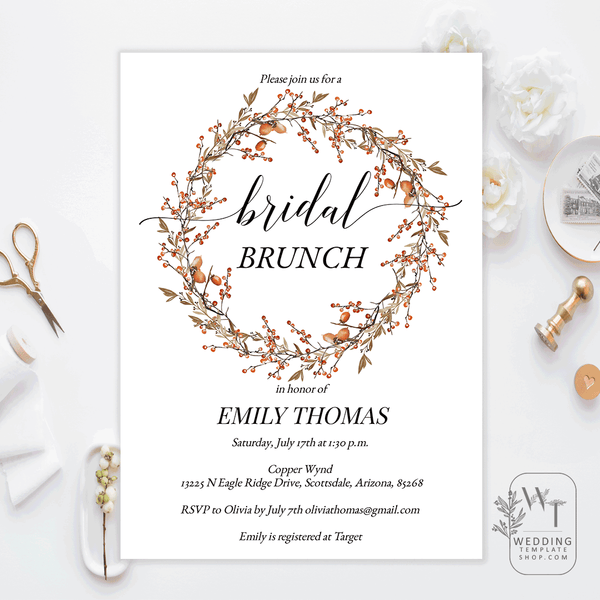 Bridal Shower Brunch Invitations Berry and Oak Wreath Edit Online, Print