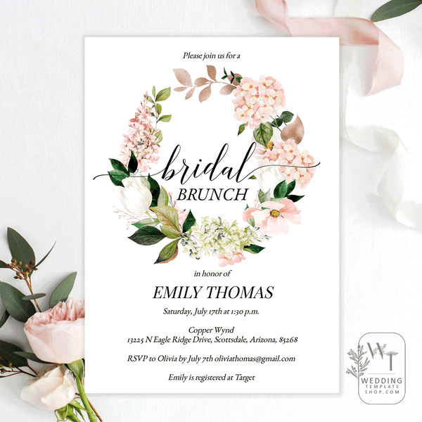 Bridal Shower Brunch Invitations Hydrangea Rose Gold Florals Edit Online, Print