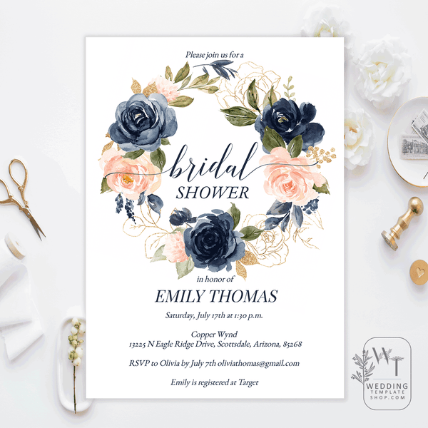 Bridal Shower Brunch Invitations Navy Blush Florals Edit Online, Print