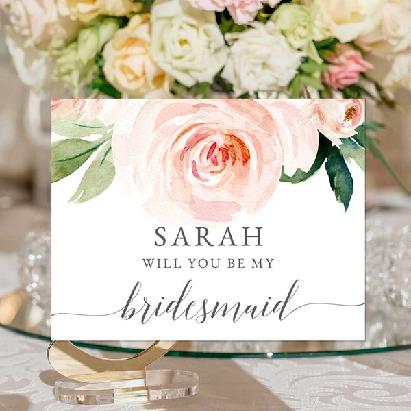 Bridesmaid Proposal Cards Blush Ivory Florals Edit Online Printable DIY