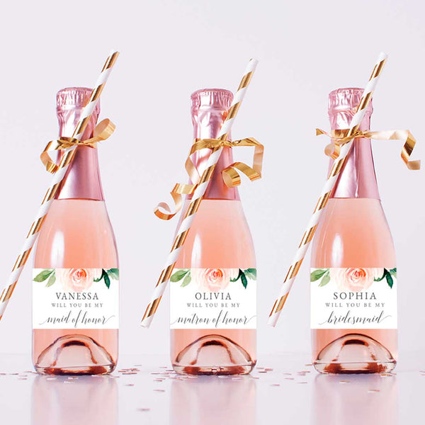 Bridesmaid Proposal Champagne Labels Edit Online Printable DIY