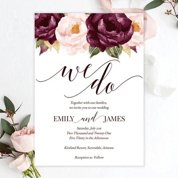 Burgundy Blush Wedding Invitation Template