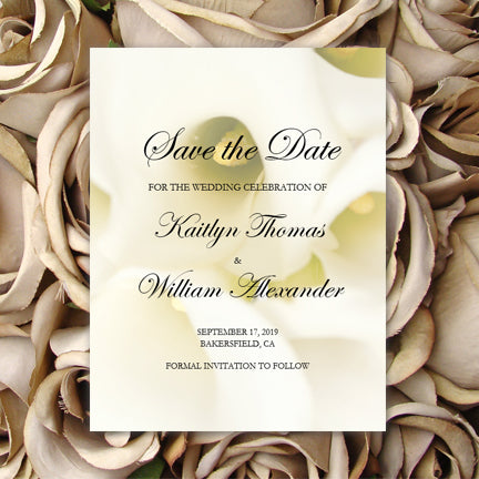 Wedding Save the Date DIY Template Calla Lily Wedding Template Shop