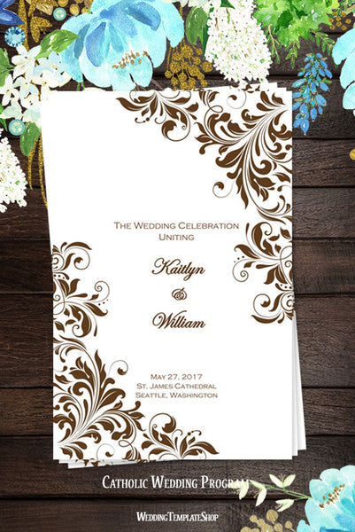 Catholic Church Wedding Program Kaitlyn Chocolate Brown